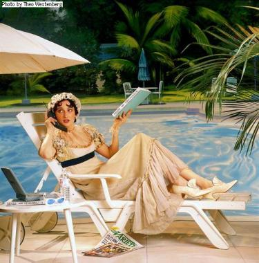 Drawing of a Victorian woman laying by a pool with modern things like a cell phone, sunglasses, Variety magazine, etc.