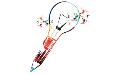 A drawing of a lightbulb meshing with a pen.