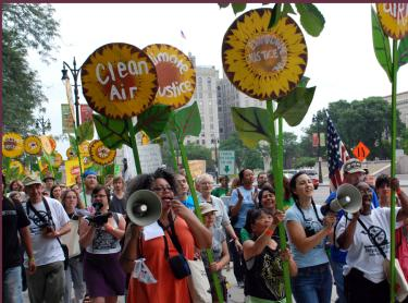 People marching for clean air.