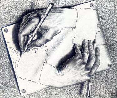 Famous drawing by Escher showing an artist drawing his own arm