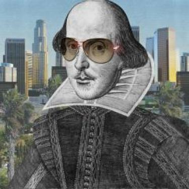 Drawing of Shakespeare wearing sunglasses with city skyline in background