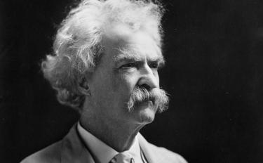 Black and white of Mark Twain