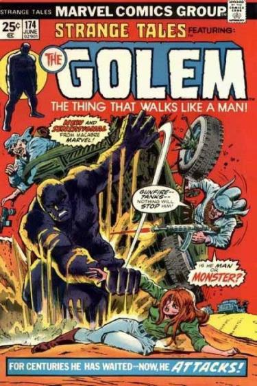 Cover of a cartoon called Strange Tales featuring Golem