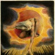 William Blake painting of a man in the sky with beams of light emerging from his hands