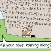 Cartoon of a caveman writing a novel on a cave wall