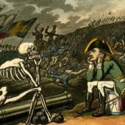 Cartoon of a man talking to a skeleton