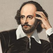 Drawing of Shakespeare in front of a Mac monitor.