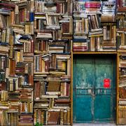 a blue door surrounded by books