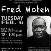 Poster for event showing Fred Moten. All details are content on this page.