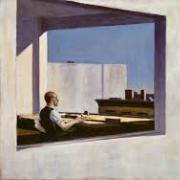 Painting of a man in a window