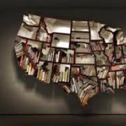 Book shelf in the shape of the United States
