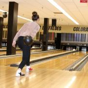 A girl bowling in the UMC