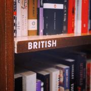 british book shelf in book store