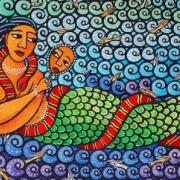 Painting of a mermaid with a snake wrapped around her