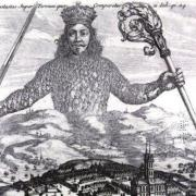 Illustration of a man with a sword and a torch hovering above a city