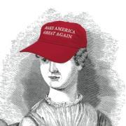 "Drawing of Jane Austen wearing a ""Make America Great Again"" hat"