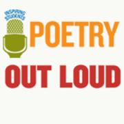 Poetry Out Loud logo showing wording and a microphone