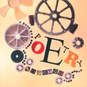 Cogs, wheels, and differently shaped letters spelling out Poetry