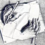 A drawing of a hand drawing a hand