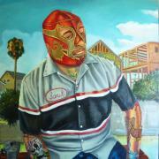 Sergio Teran painting of a luchador