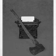 A typewriter and an axe