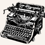 Black and white drawing of an old Olympia typewriter.