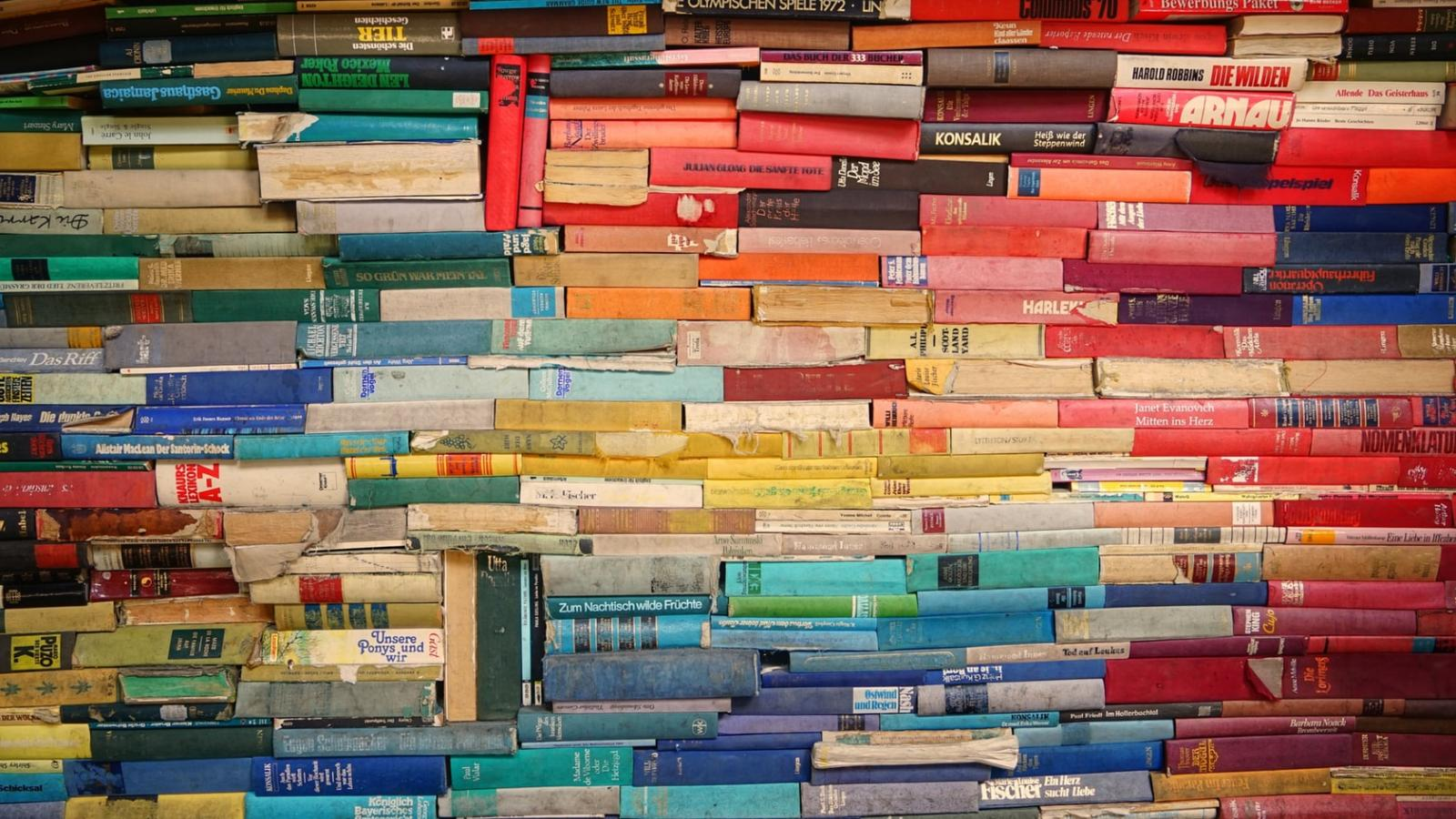 colorful books stacked vertically