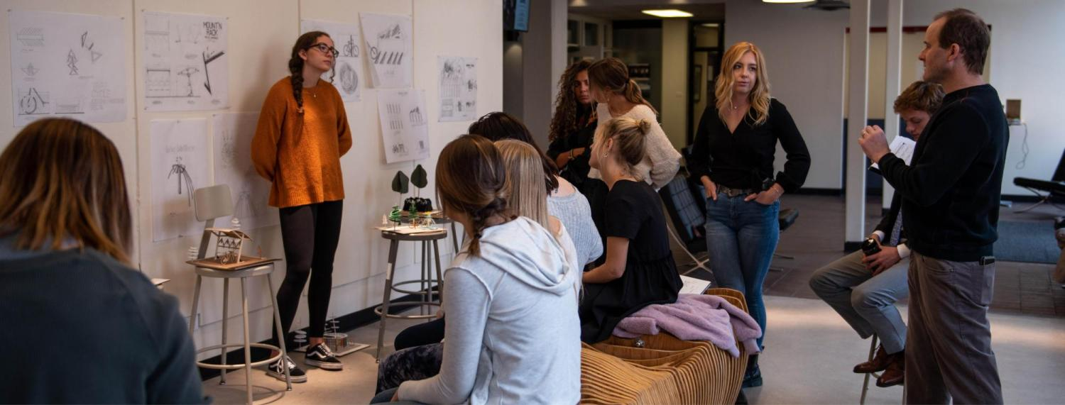 First-year students presenting during their final 8-week studio reviews.
