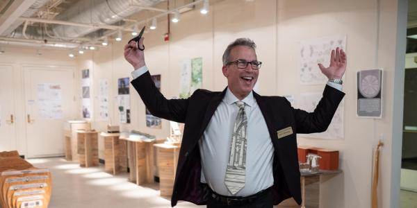 Paul Chinowsky during winter open house ribbon cutting ceremony