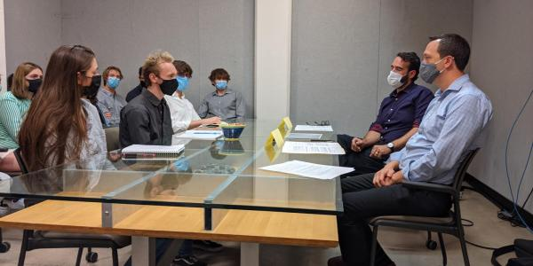 Students in upper-division writing course conduct mock interviews with design professionals