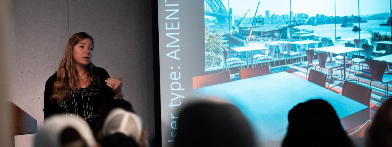 Georgia Lindsay presenting during the colloquium series in ENVD 134