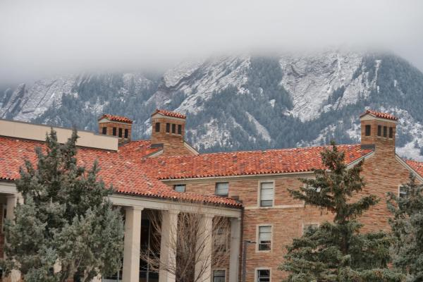 Snow dusted Flatirons and Libby Residence Hall