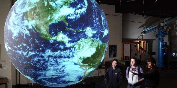 students studying at fiske planetarium