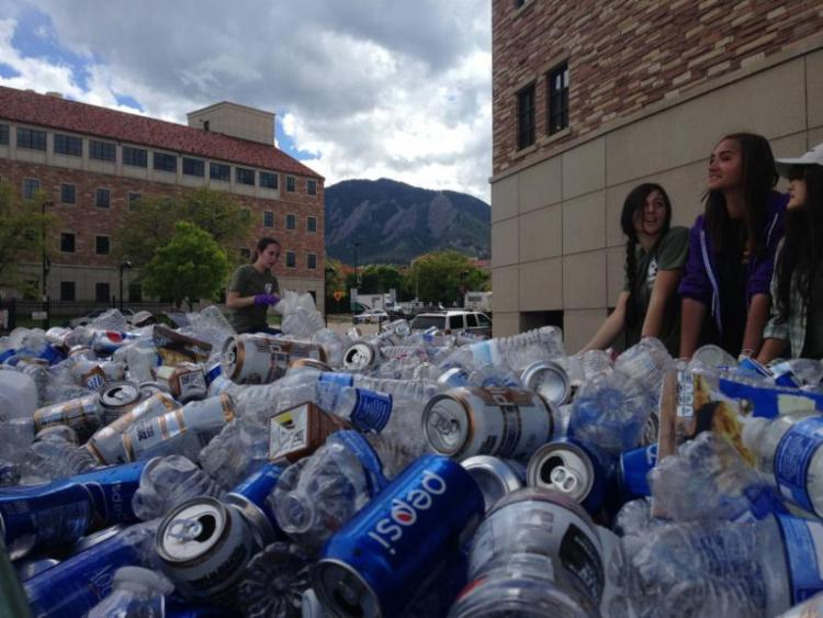 CU students recycling on campus towards zero waste