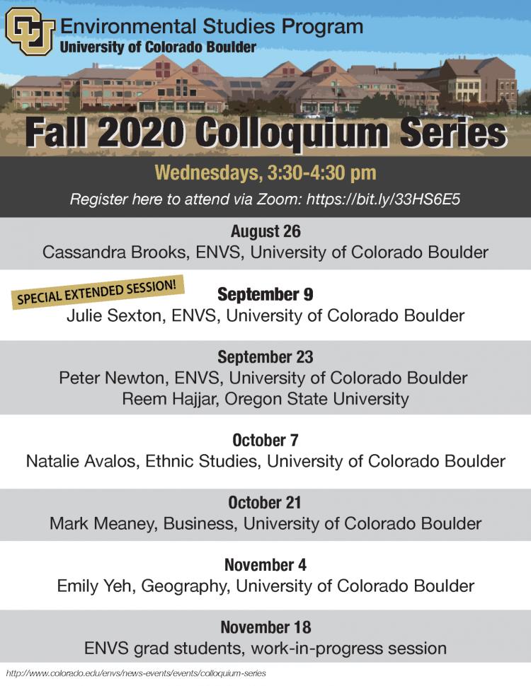 Fall 2020 Colloquium Series