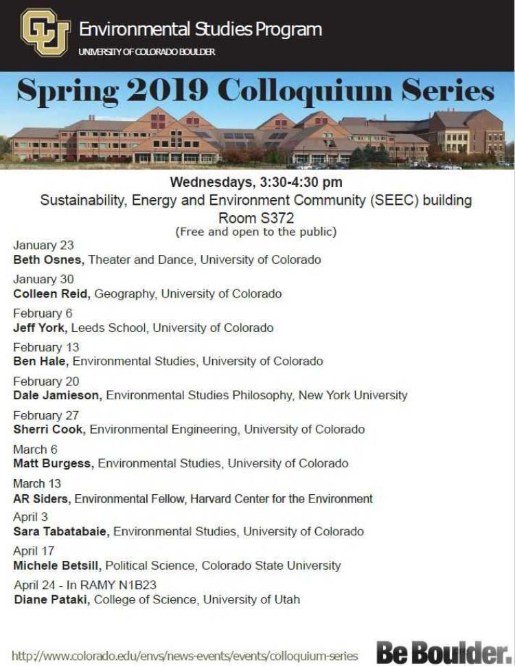 Spring 2019 updated colloquium schedule 4/10/19