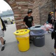 student on campus working towards zero waste