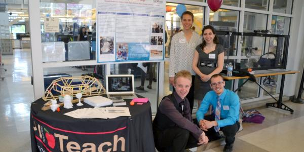 CU Teach Engineering students sharing their project at the ITLL Design Expo.