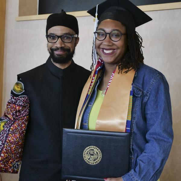 Christel Benjamin with Dr. Reiland Rabaka