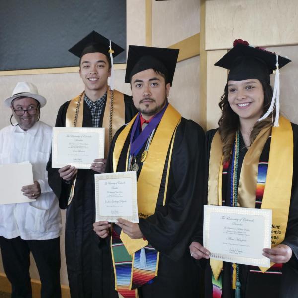 Ethnic Studies Minors (left to right) Dr. Aldama, Eric Larson, Jonathan Delgado, Alma Hinojosa