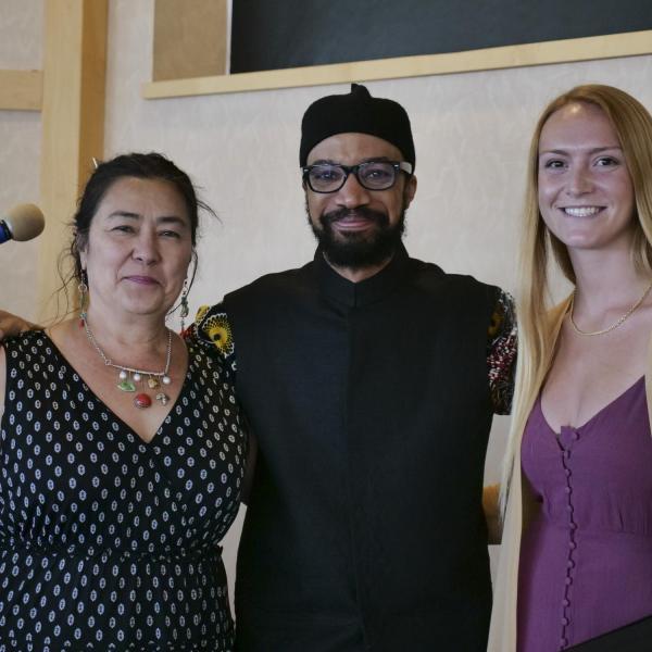 Ethnic Studies Staff with Dr. Rabaka (left Patricia Burton, right Brigitte Sellinger)
