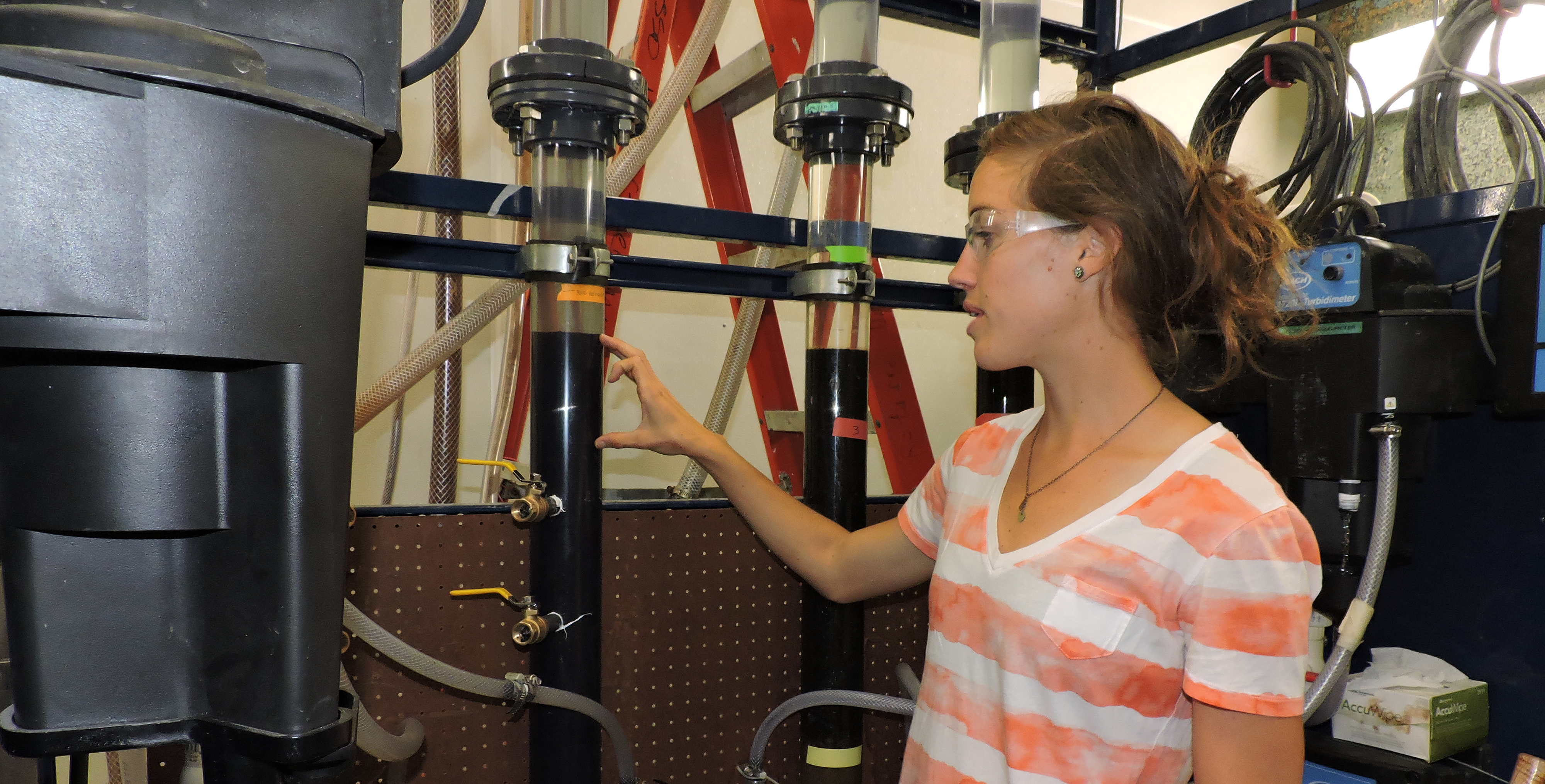 Student working on a water reuse project.