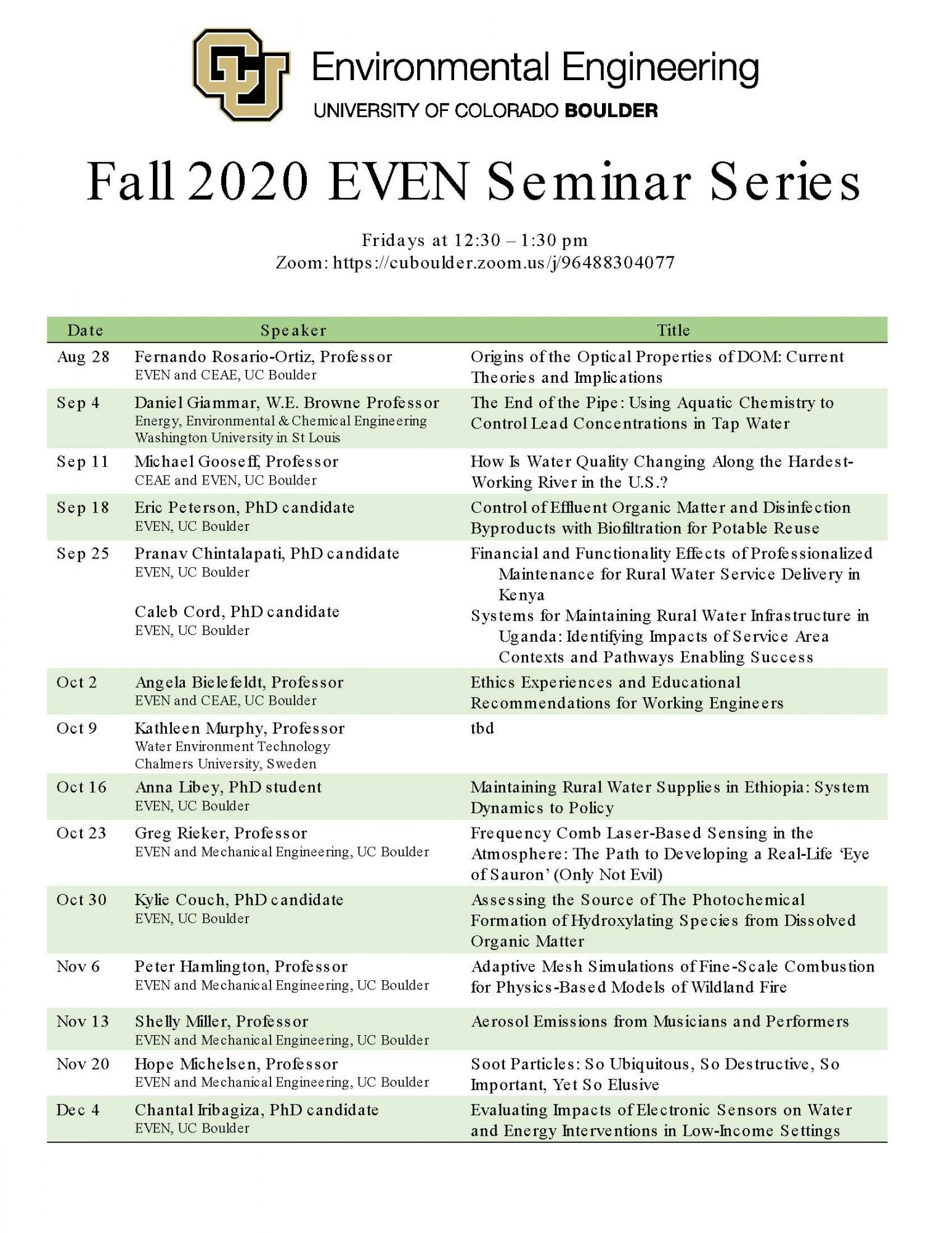 Fall 2020 Seminar Schedule