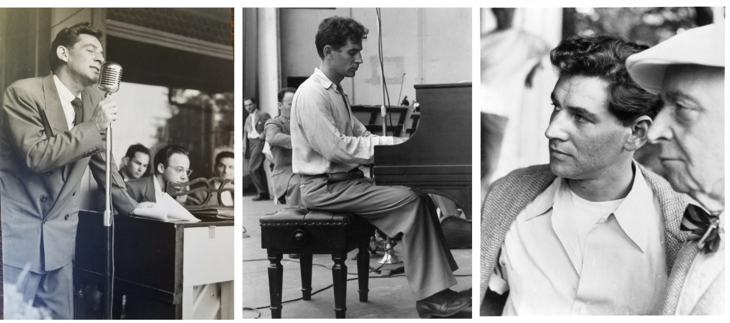 Three photos of Bernstein in a row