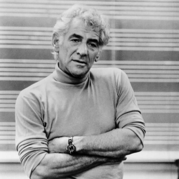 Leonard Bernstein standing black and white