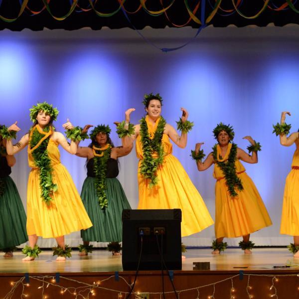 Hawaiian dancers doing a traditional performance.
