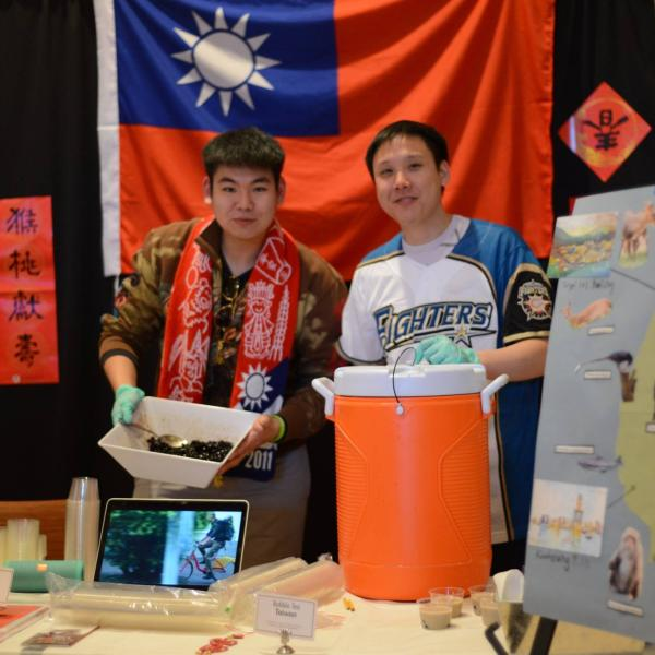 Students at the Taiwan booth.