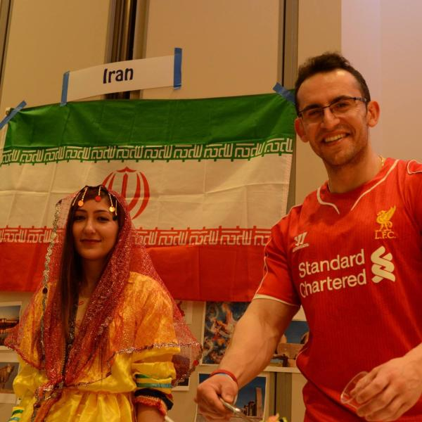 Students from the Iran booth.