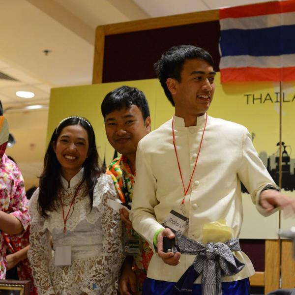 Students at Thailand booth.
