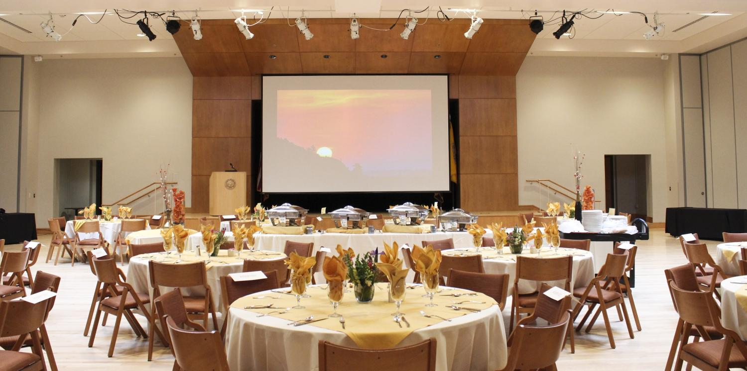 Ballroom set for lunch event